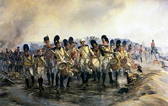 "57th (West Middlesex) Regiment of Foot - The drummer boys of the 57th Regiment at the Battle of Albuera, May 1811; ""Steady the Drums and Fifes"" by Lady Elizabeth Butler"