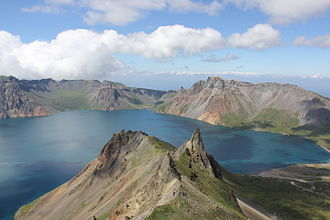 Paektu Mountain - The summit caldera of Paektu Mountain, with Heaven Lake