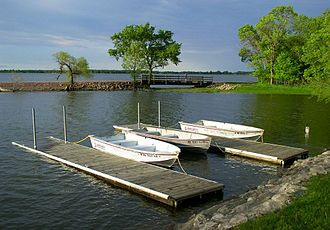 Lake Shetek State Park - Rental rowboats and a WPA-built causeway to Loon Island