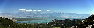 Shkodër County - A panoramic view over the Lake Shkodër and the Albanian Alps in the distance.