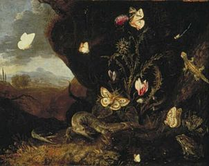 Landschap with insects, cyclamen and thistle