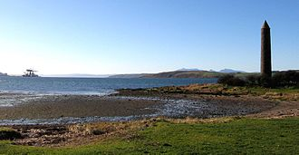 "Firth of Clyde - The Largs ""Pencil"" looking south towards the Hunterston terminal, with Cumbrae and the Isle of Arran to the west."