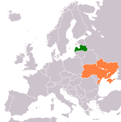Map indicating locations of Latvia and Ukraine
