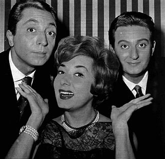 Alberto Lionello - from left to right, Aroldo Tieri, Lauretta Masiero and Lionello, presenters of the 1960 edition of Canzonissima