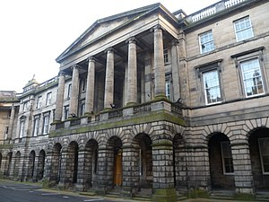 Courts of Scotland - Entrance to the Parliament House, the home of the Supreme Courts of Scotland, in Parliament Square, Edinburgh.