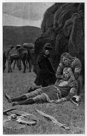 Laxdæla saga - Kjartan Ólafsson is slain by his foster brother Bolli Þorleiksson. Bolli, filled with regret, holds the dying Kjartan in his arms.