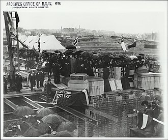Central railway station, Sydney - Laying the foundation stone for Central Station in 1903