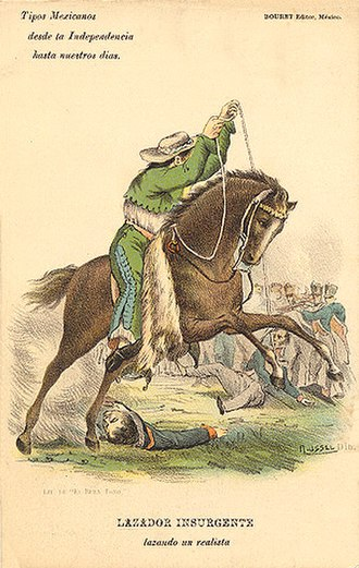 Charreada - A historic image of charros as insurgent fighters by Claudio Linati (1828).