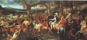 Peinture de Charles Le Brun montrant Alexandre et Pûru lors de la bataille de l Hydaspe.