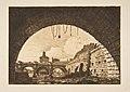 Le Pont-neuf et la Samartaine de dessous la première arche du Pont-au-Change (Pont-neuf and the Samartaine seen from under the first arch of the Pont-au-Change, Paris, after Nicolle) MET DP813231.jpg