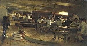 Julien Le Blant - Diner de l'equipage, Oil on Canvas, 121 cm × 224 cm, 1890, Collection Palais de Chaillot, Paris