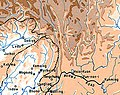 Ledo and Sodiya, India- Myitkyina, Myanmar- Batang (Ba), Litang, Gyaltang, Kham, Tibet- Burma Road terminus at Kunming, China 1945 map detail, from- Allied Third Burma Campaign Apri 1-May 1945 (cropped).jpg