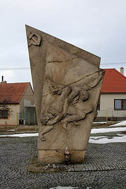 Left part of Memorial of murdered victims of Babice Case in Babice, Třebíč District.jpg