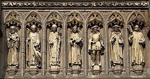 Henry Hastings, 3rd Earl of Huntingdon - Detail from the Vaughan Porch of Leicester Cathedral. The Earl of Huntingdon is 3rd from the right