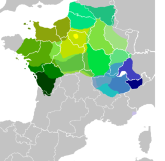 Old French - Distribution of the modern langue d'oïl (shades of green) and of Franco-Provençal dialects (shades of blue)