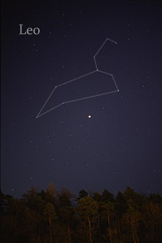 Leo (constellation) - The constellation Leo as it can be seen by the naked eye (the bright object in center of the picture is the planet Jupiter).