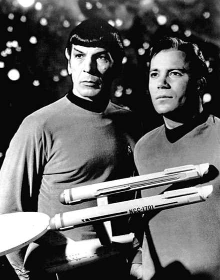 The Star Trek franchise has traditionally set forth an optimistic view of humanity, stressing the capacity for moral idealism amidst adversity. Leonard Nimoy William Shatner Star Trek 1968.JPG