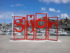 Gijón - Modern piece of art with the city name.
