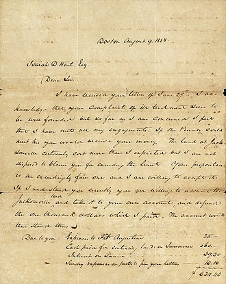 Isaiah Hart - Letter to Isaiah Hart from Amos Binney, dated August 9, 1838