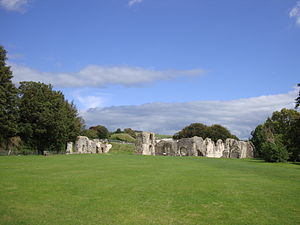 Lewes Priory - View of priory remains, in the direction of the site of the Great Church (now bisected by railway line)