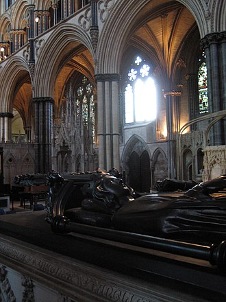 Eleanor cross - Tomb of Eleanor's viscera in the Angel Choir at Lincoln Cathedral.