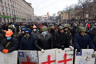 NASU Institute of History of Ukraine - Image: Line of protesters at Dynamivska str. Euromaidan Protests. Events of Jan 20, 2014