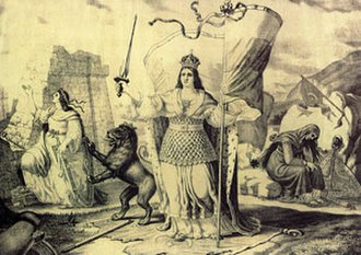 Kresna–Razlog uprising - Separated Bulgaria after the Treaty of Berlin - a lithograph by Nikolai Pavlovich. Principality of Bulgaria (in the middle), Eastern Rumelia (leftward) and Macedonia (right at the back)