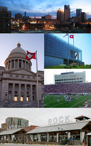 Clockwise from top: Little Rock skyline, William J. Clinton Presidential Library, War Memorial Stadium, the River Market District, and the Arkansas State Capitol