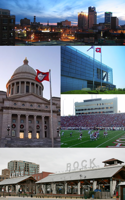 Clockwise frae tap: Little Rock skyline, William J. Clinton Presidential Library, War Memorial Stadium, the River Mercat Destrict, an the Arkansas State Caipitol