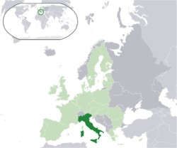 Ibùdó ilẹ̀  Itálíà  (dark green) – on the European continent  (light green & dark grey) – in the European Union  (light green)  —  [Legend]