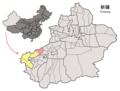 Location of Akqi within Xinjiang (China).png