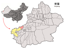 Location of Akqi within Xinjiang (China).png