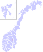 Karte Norwegens, Lage von Lillehammer hervorgehoben