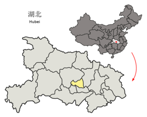 Location of Tianmen within Hubei and the PRC