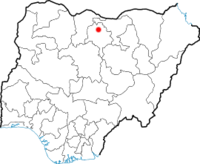 Map of Nigeria showing the location of Kano