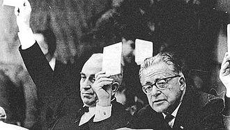 Death of Benito Mussolini - Luigi Longo (left) and Palmiro Togliatti at a Communist Party congress after the war.