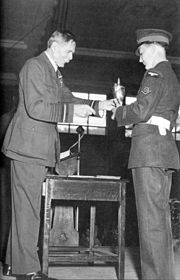 Lord Trenchard presents trophy to RAF apprentice