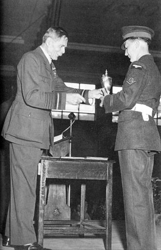 Aircraft Apprentice Scheme - Lord Trenchard presenting a trophy to an RAF Halton apprentice
