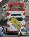 Lothian Buses bus Dennis Trident Plaxton President Harlequin livery Route 26 Heart branding, 21 April 2007.jpg