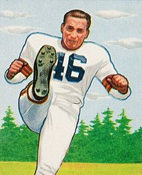 Lou Groza pictured kicking on a 1950 Bowman football card
