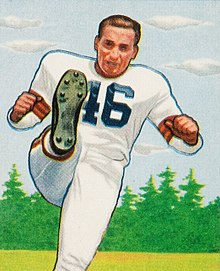 Description de l'image Lou Groza, American football placekicker, on a 1950 football card.jpg.