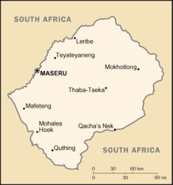 Map of Lesotho showing Maseru.