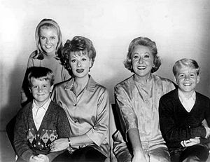 Vivian Vance - Cast of The Lucy Show during its first three seasons: Candy Moore (in back); front, L-R: Jimmy Garrett, Lucille Ball, Vivian Vance, and Ralph Hart (1962)