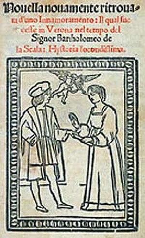 Luigi Da Porto - Frontispiece of Giulietta e Romeo from 1530. by Luigi da Porto