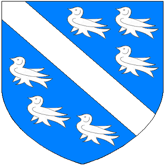 Geoffrey Luttrell - Arms of Luttrell of Irnham: Azure, a bend between six martlets argent