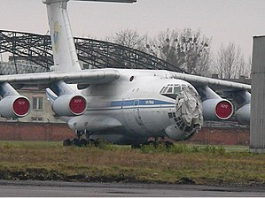 Sknyliv air show disaster - The damaged IL-76MD