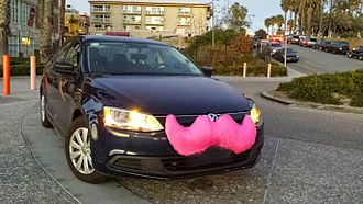 Lyft - A Lyft vehicle in Santa Monica, California, with the original grill-stache branding, since retired