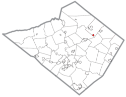 Location of Lyons in Berks County, Pennsylvania.