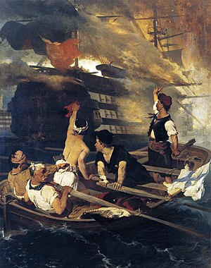 Hellenic Navy - The destruction of the Ottoman flagship at Chios by Constantine Kanaris. Painting by Nikiphoros Lytras.