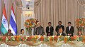 M. Hamid Ansari addressing at the banquet hosted by the Prime Minister of Thailand, General Prayut Chan-o-cha, in Bangkok,. The Minister of State for Home Affairs, Shri Haribhai Parthibhai Chaudhary.jpg